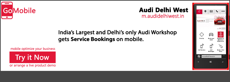 Audi Delhi West is on mobile.
